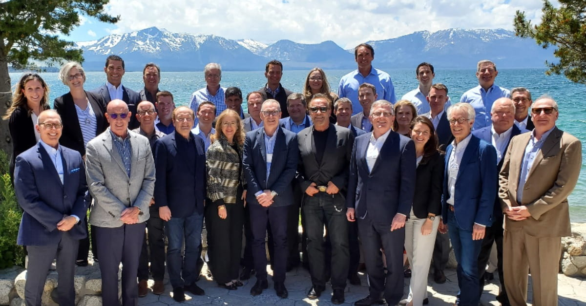 Arnold Schwarzenegger and Robert Merton join wealth management leaders at Dimensional's 2019 CEO Forum at Lake Tahoe.